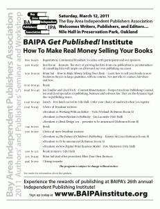 BAIPA Institute Schedule